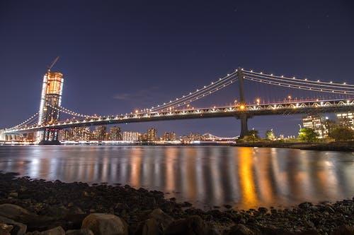 Free stock photo of bridge, brooklyn, city lights, hudson river