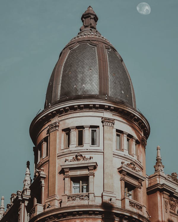 architektura, dach, miasto niebo