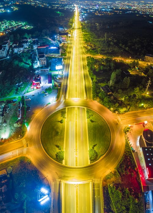 Aerial Photography of Yellow-lighted Intersecting Roads