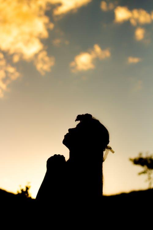 Free stock photo of black girl, pray, prayer, shadow