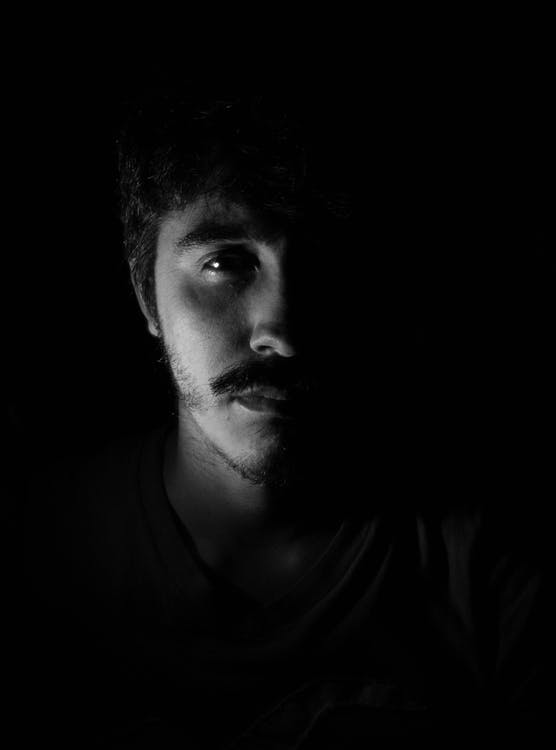 Monochrome Photo of Man's Face