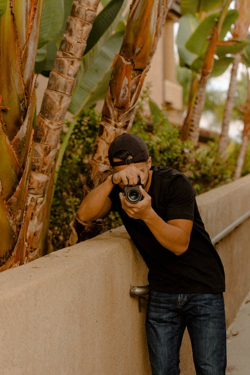 appareil photo, homme, individu