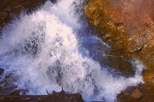 Free stock photo of brook, red rock, spume