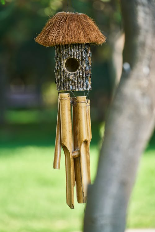 Native Bamboo Nest Box Wind Chimes Hanging on the Tree
