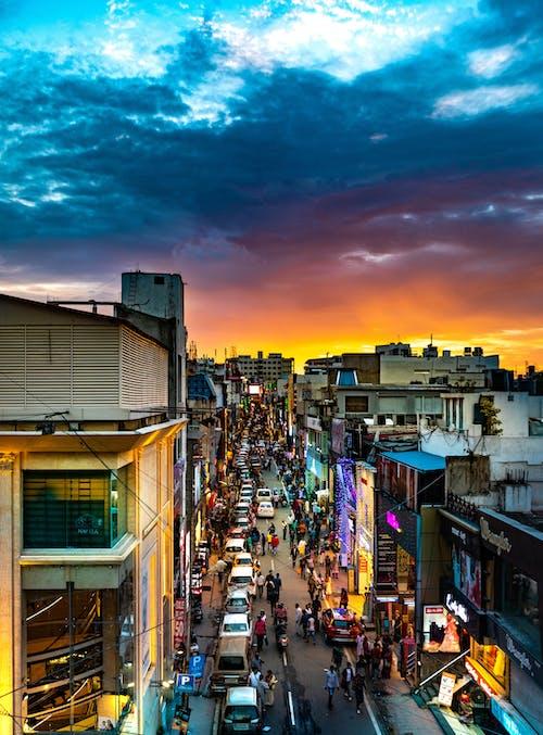 シティ, ライト, 人の無料の写真素材