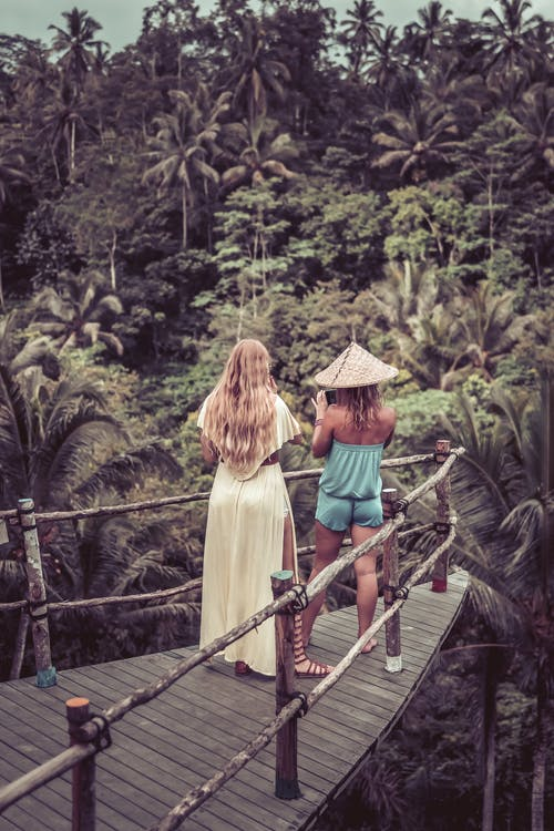 Two Woman Standing Beside Railing Looking in Forest