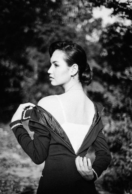 Grayscale Photography Of Woman In Black Back Zip Up Dress