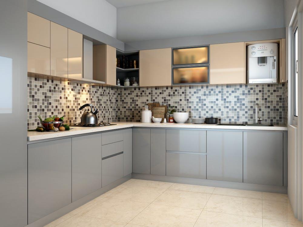 Beige Wooden Kitchen Cupboards