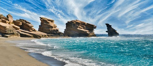 Δωρεάν στοκ φωτογραφιών με αμμουδιά, αμμώδης παραλία, βραχώδης ακτή, γαλαζια θαλασσα