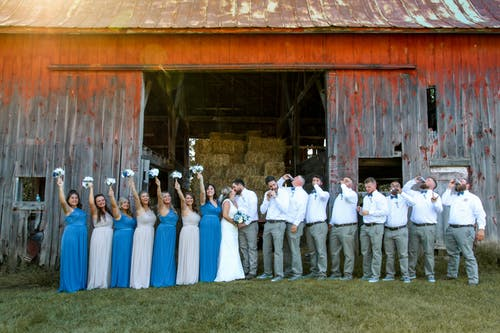Free stock photo of barn wedding, blue bridesmaids, bridal group, Bride and Groom