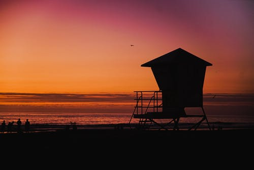Silhouette Of Lifeguard Tower