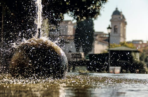Free stock photo of day light, fountain, sun reflection