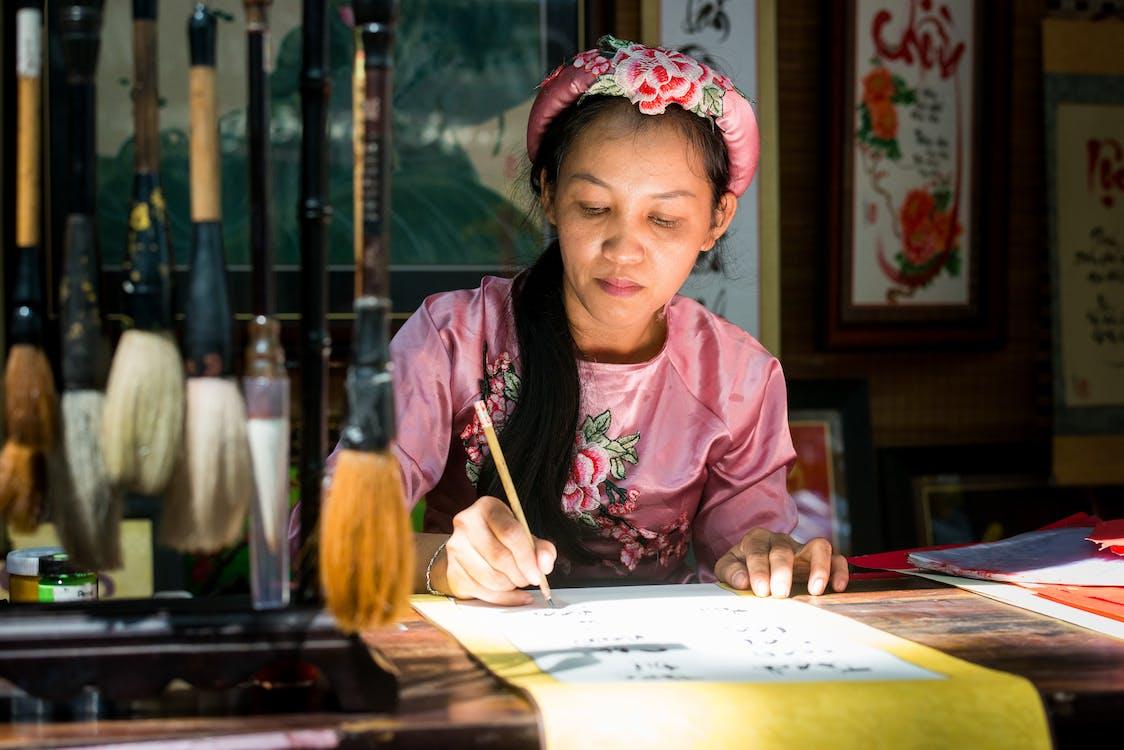 Woman Doing Calligraphy