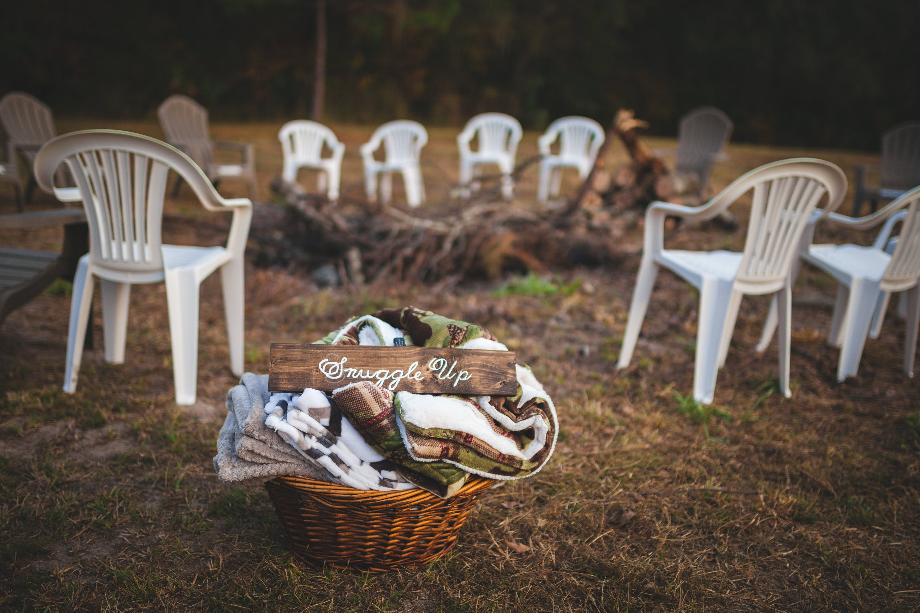basket, blankets, chairs