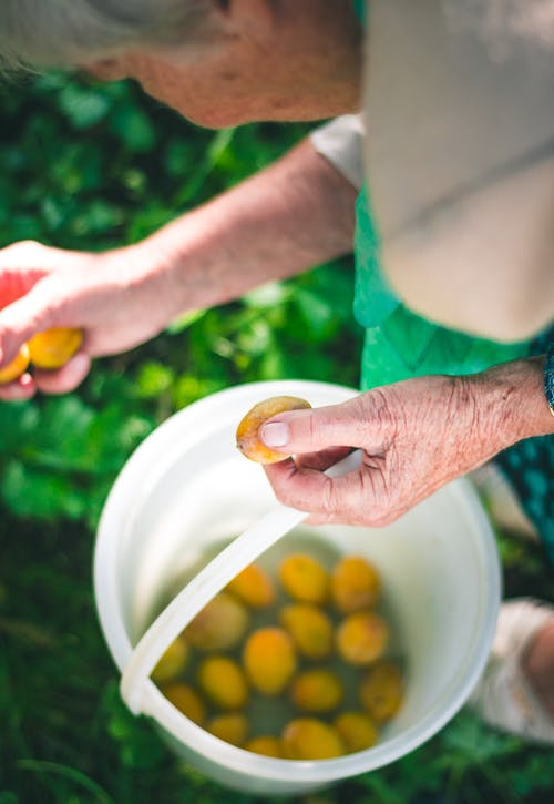 Person Holding Oval Yellow Fruits