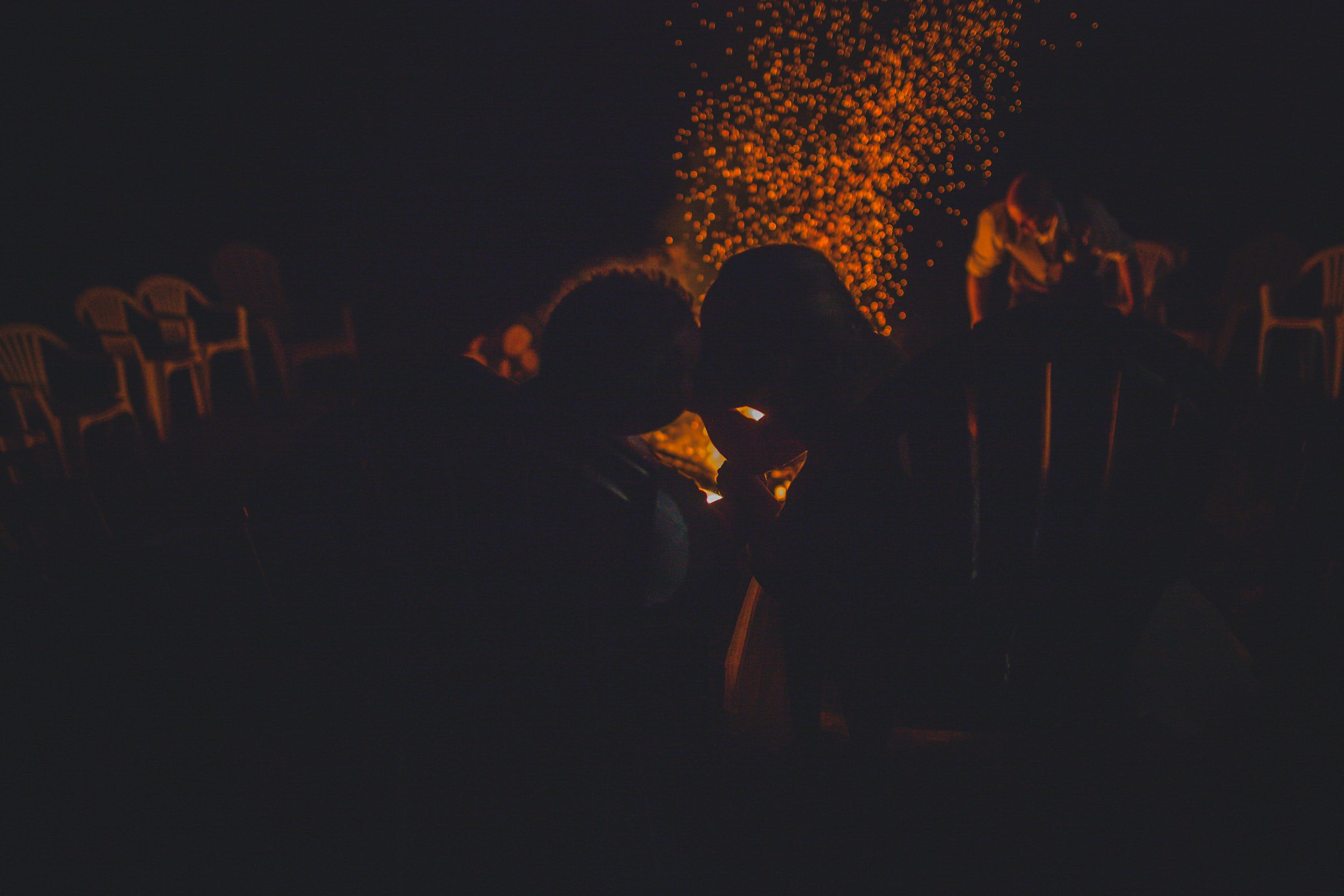 Free stock photo of love, night, kissing, fire