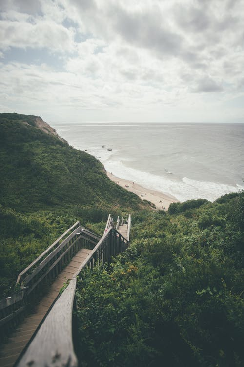 Aerial Photography of Stairs Leading To The Seashore