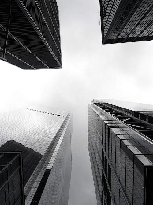 Základová fotografie zdarma na téma architektonický návrh, architektura, budovy, černobílá