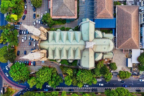 Aerial View of Teal and Beige Cathedral