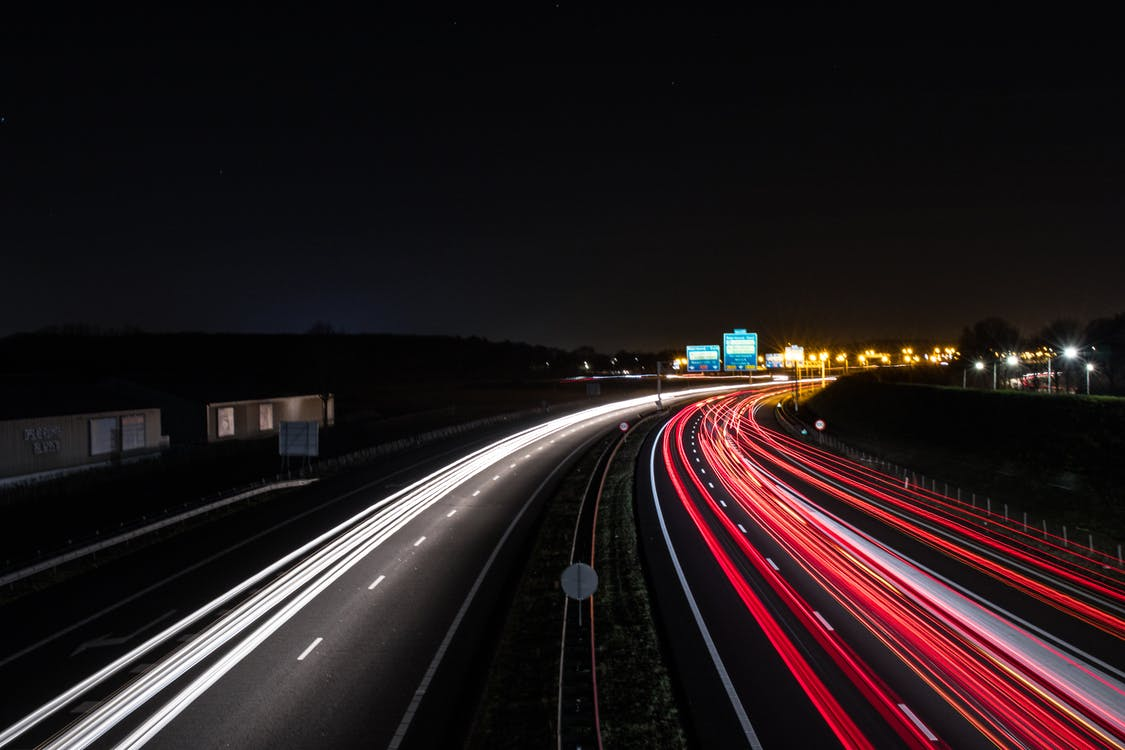 Asphalt Highway Time Lapse Photography At Nighttime