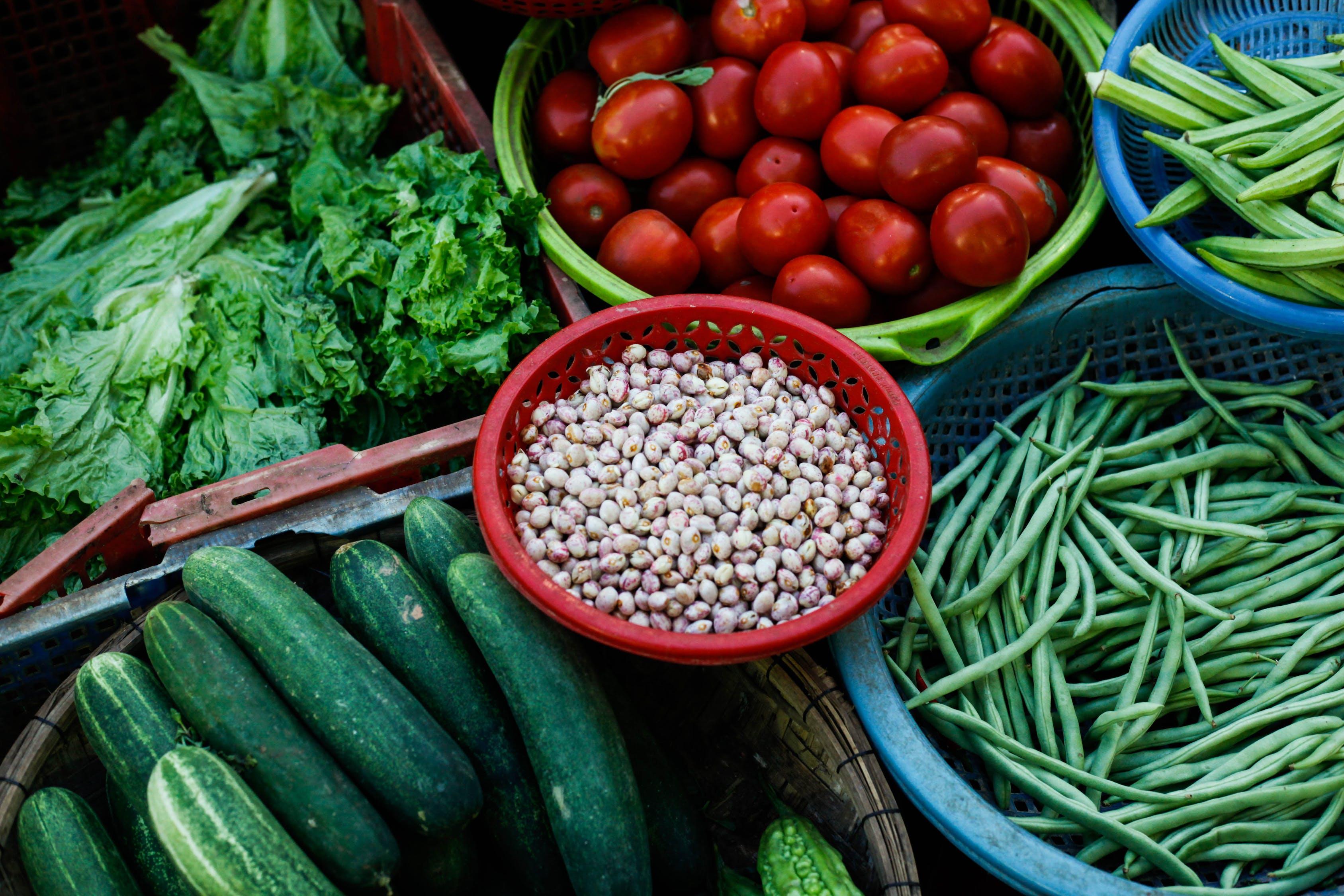 Assorted Vegetables on PLastic Trays