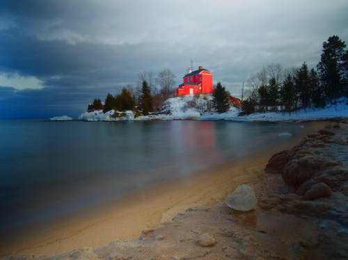 Free stock photo of beach, cold, frozen, lighthouse