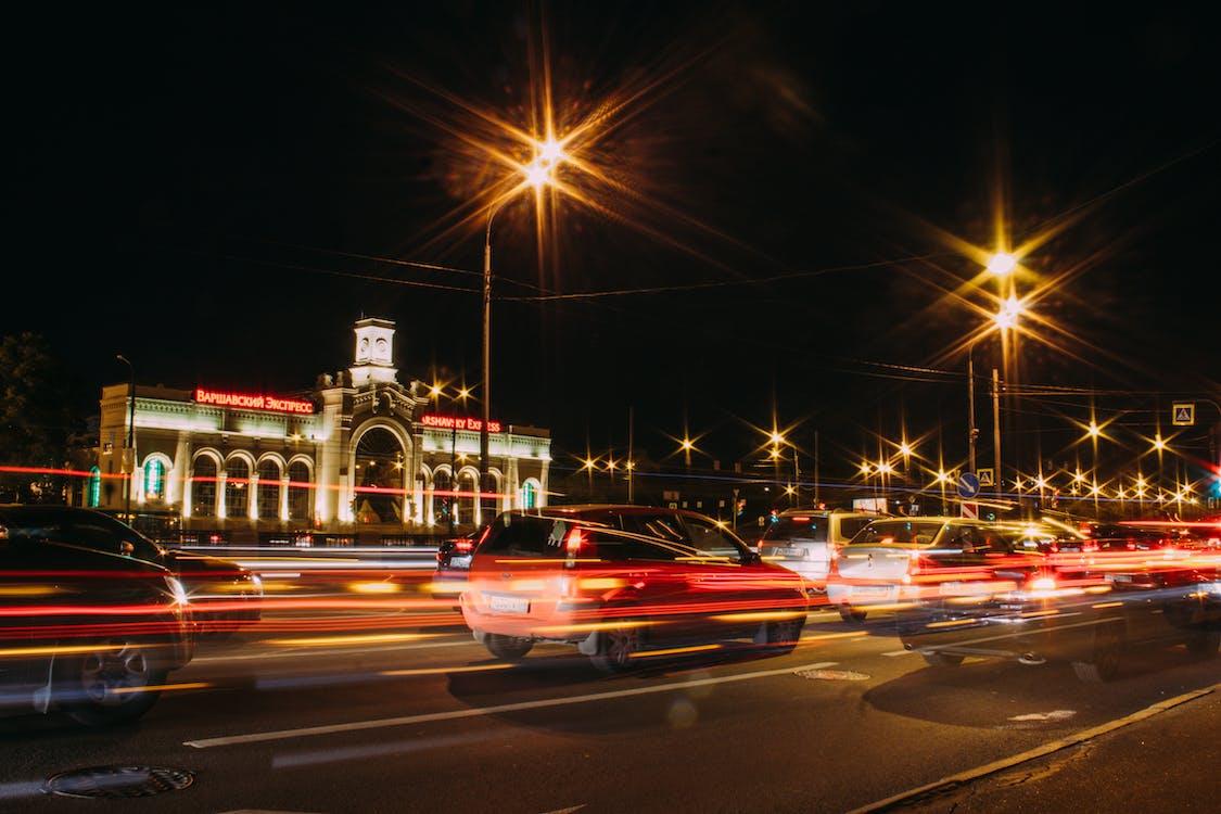 城市, 汽車, 燈光