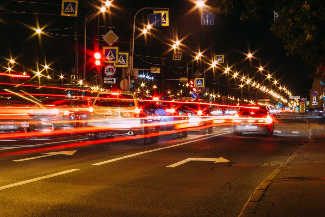 Time Lapse Photo Vehicular Traffic On The Highway At Night