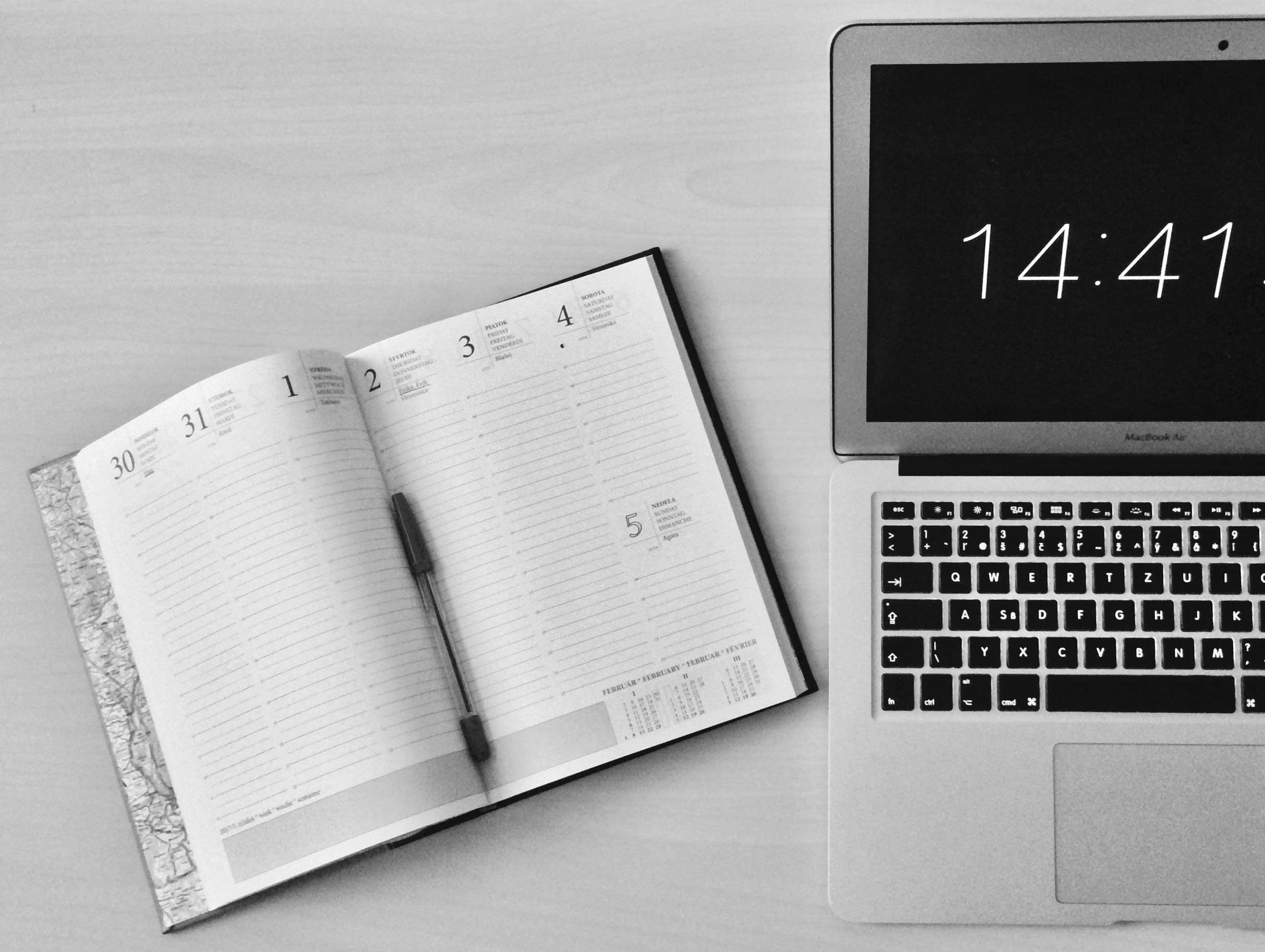 Free stock photo of black-and-white, laptop, notebook, office