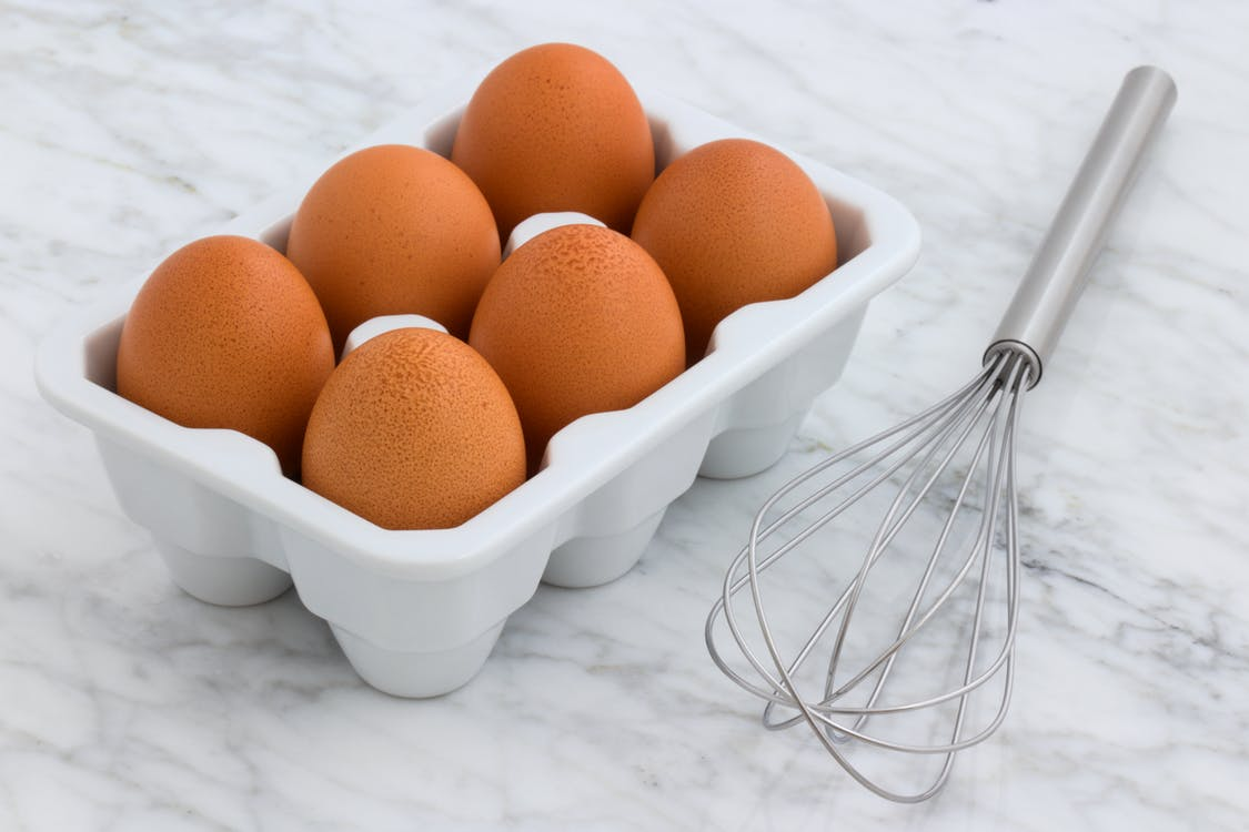 Six Brown Eggs With Tray