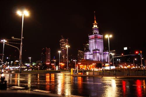 Free stock photo of city lights, night, night city, warsaw