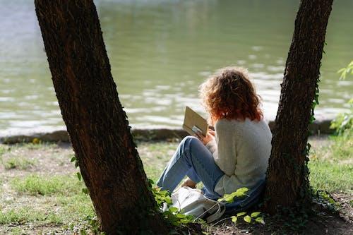 公園, 女人, 放鬆, 書 的 免费素材照片