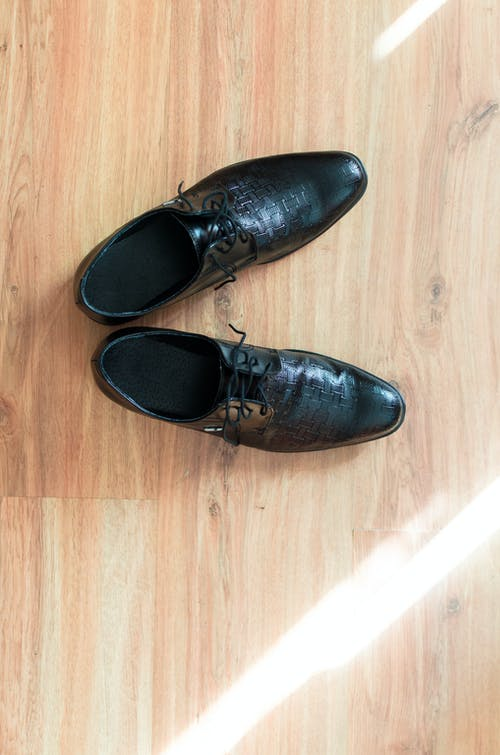 Pair of Men's Black Leather Dress Shoes