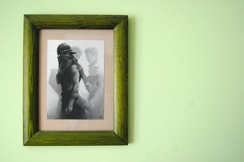 フォトフレーム, ぶら下がり, 壁, 額縁の無料の写真素材