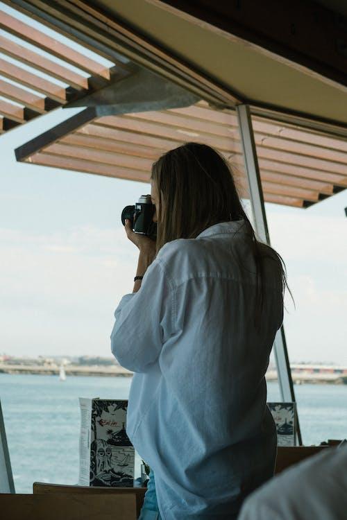 appareil photo, cliché, debout