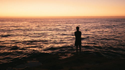Silhouette Photo Of Man Standing On Seashore
