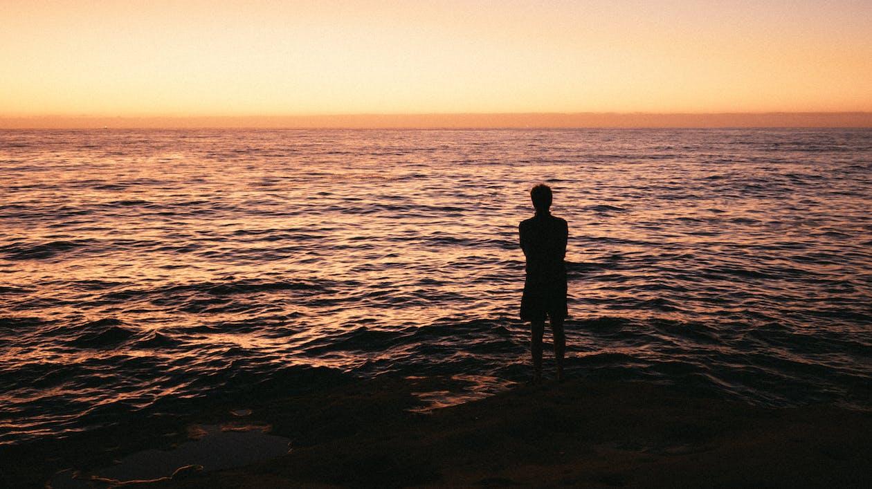 Silhouette Photo Of Man Standing On Seashore