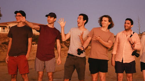 Five Men Standing on Focus Photography