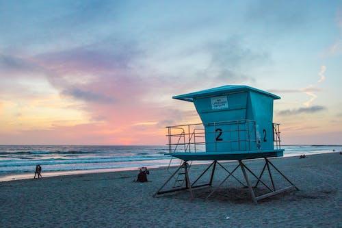 カリフォルニア, ゴールデンアワー, ビーチ, ライフガードの無料の写真素材