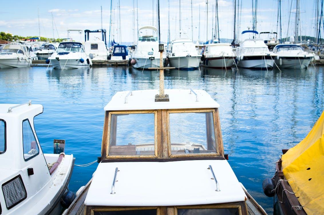 baie, bateaux, bleu