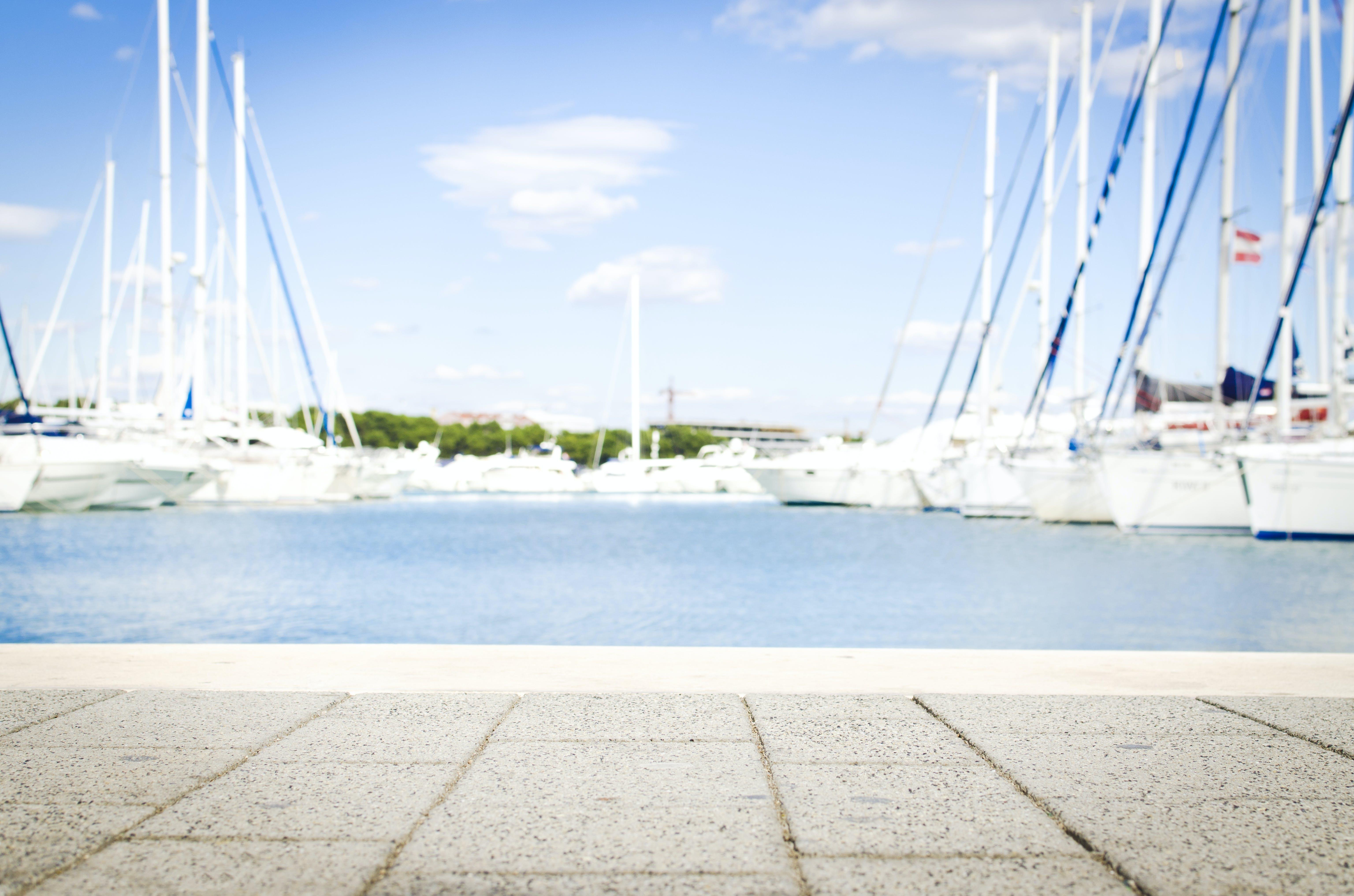 anløbsbro, både, badebro