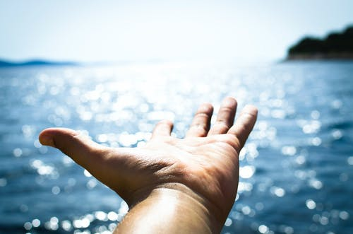 Person Hand Reaching Body of Water