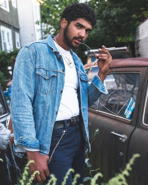 Man Wearing Denim Jacket