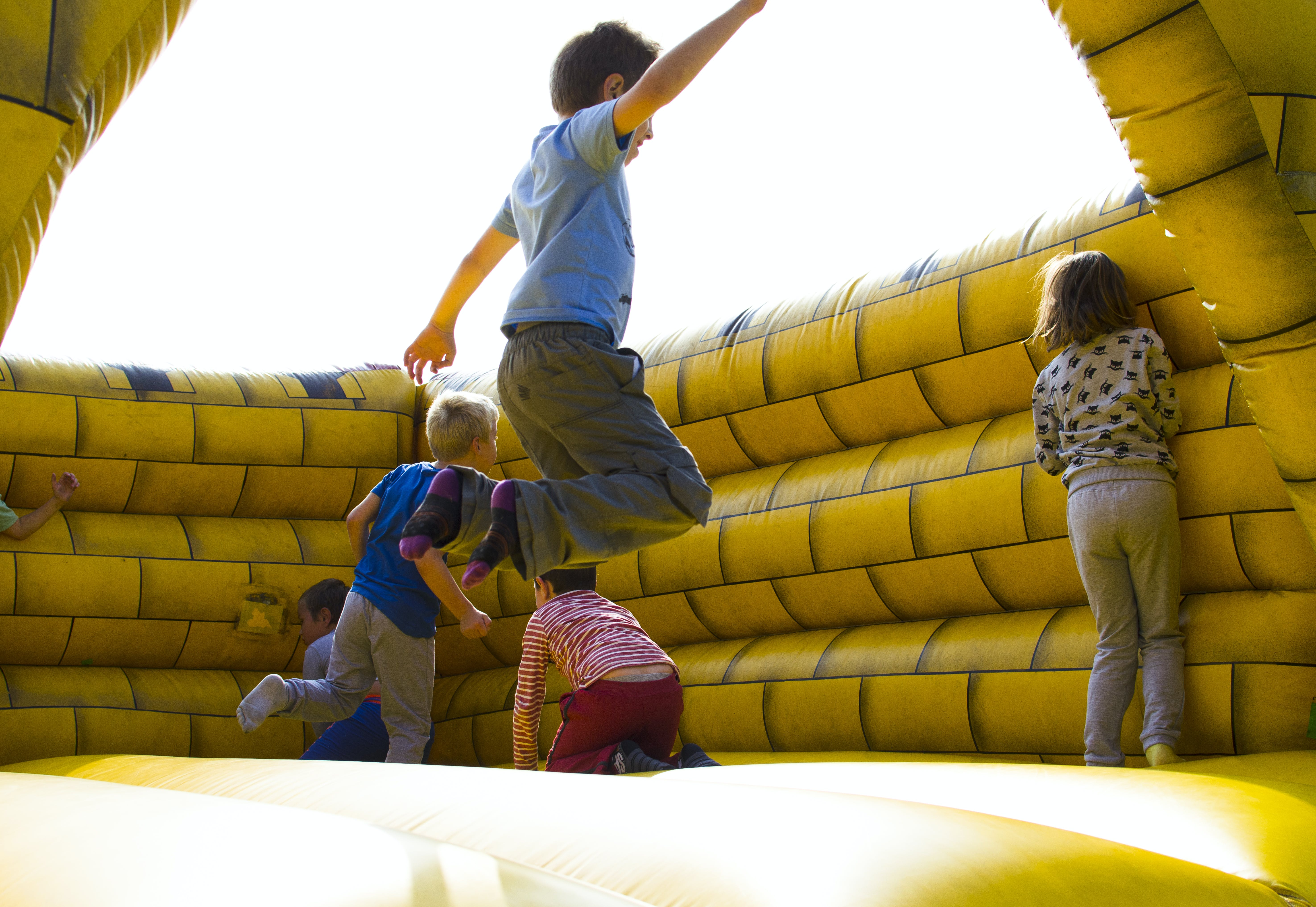 action, activity, bouncy castle