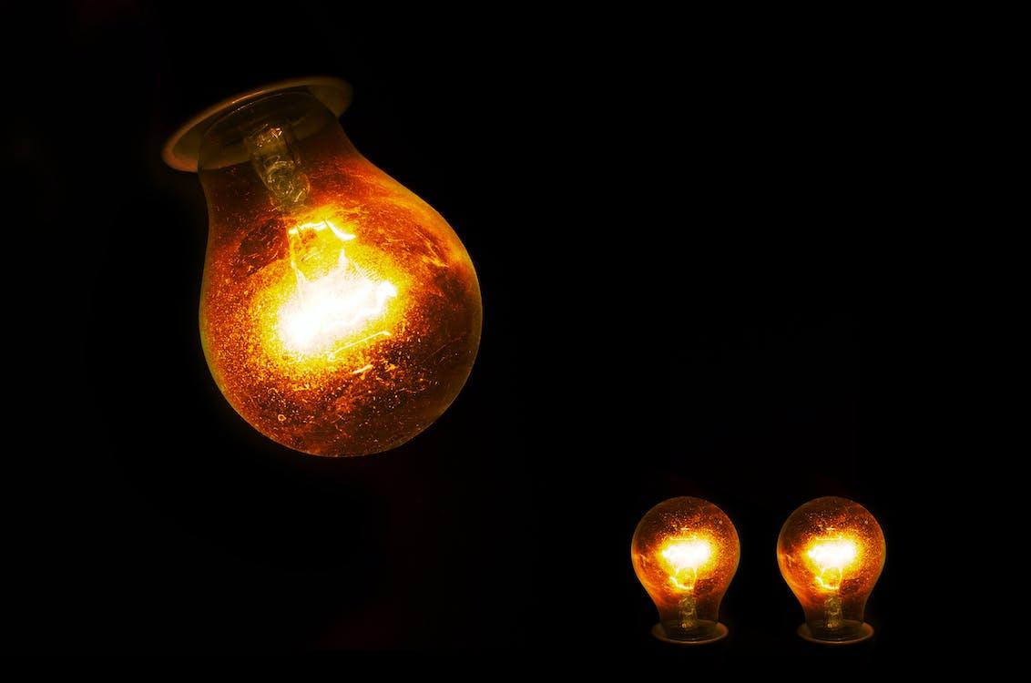 Three Lightened Bulbs Illustration