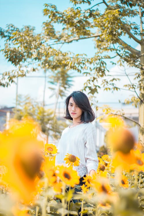 Woman Standing Near Sunflowers