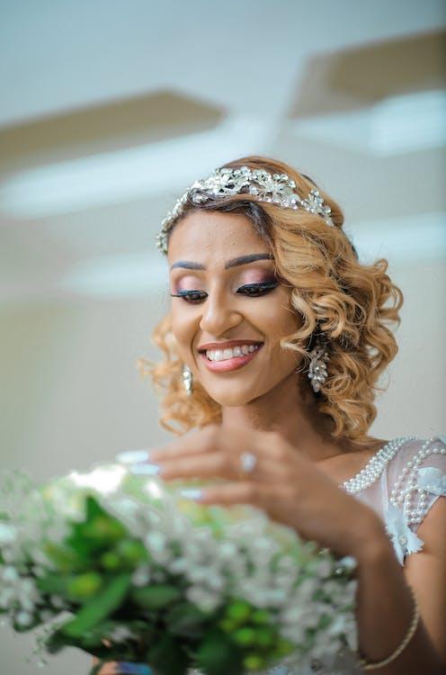 Woman Wearing Tiara and White Dress