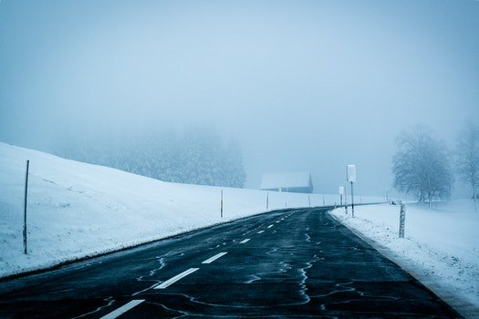 Free stock photo of cold, snow, road, fog