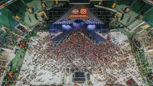 Aerial Photo of People Near Stage