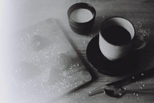 Free stock photo of black coffee, bw film, ceramic cup, coffee